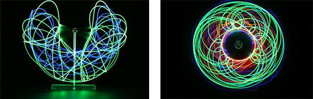 Largo de la exposición de fotografía de LED del fabricante Caos